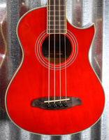 Ortega Guitars Deep Traveler D-Walker-RD Red Short Scale Acoustic Electric Bass & Bag #3267