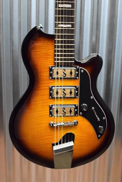 Supro Island Series 2030TS Hampton Flame Maple Tobacco Burst Guitar & Case #714