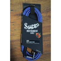 Supro USA CY-20 20' Guitar Bass Instrument Right Angle Cable Blue