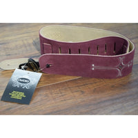 Onori S2HC-BUR Burgundy Suede Cross Adjustable Guitar Strap