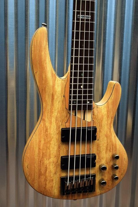 ESP LTD B-205SM 5 String Bass Spalted Maple Top Natural Satin & Case #0001