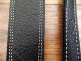 LM Products CLUB BK Leather Double Stiched Electric Guitar Strap in Black