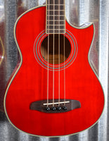 Ortega Guitars Deep Traveler D-Walker-RD Red Short Scale Acoustic Electric Bass & Bag #6259 B Stock
