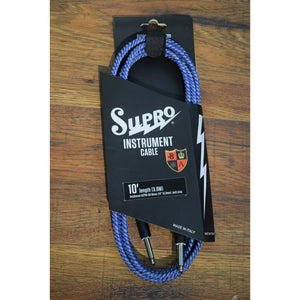 Supro USA CX-10 10' Guitar Bass Instrument Cable Blue