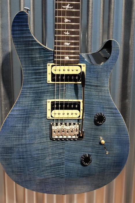 PRS Paul Reed Smith SE Custom 24 Flame Whale Blue Tremolo Guitar & Gig Bag #7031