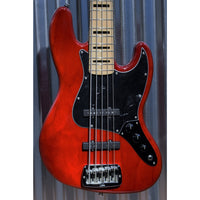 G&L Guitars USA JB5 5 String Jazz Bass JB Clear Red & Case JB-5 2018 #9229