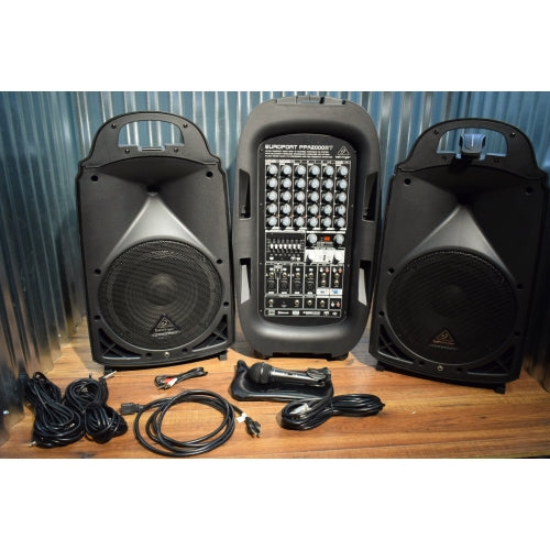 Behringer PPA2000BT 2000 Watt 8 Channel 2 Speaker Bluetooth Portable PA System