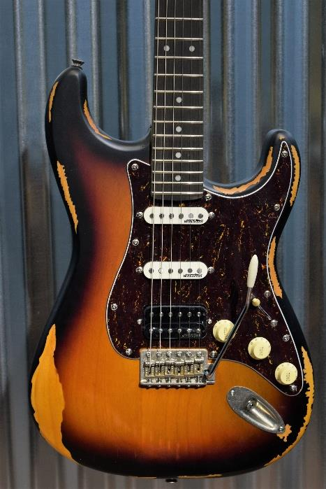 Vintage Icon V6HMRSB HSS Relic Sunburst Distressed Wilkinson Guitar & Case #326