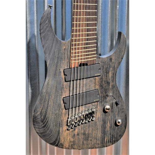 Ibanez Iron Label RGIF8 8 String Fan Fret Multi Scale EMG Charcoal Stained Flat Guitar & Bag Used