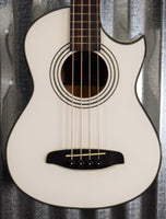 Ortega Guitars Deep Traveler D-Walker-WH White Short Scale Acoustic Electric Bass & Bag #1335 B Stock