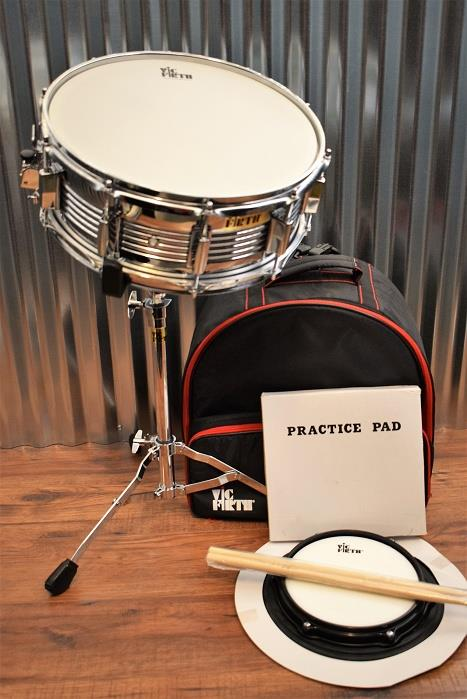 Vic Firth V6705 Travel Snare Drum Kit with Practice Pad, Sticks, Stand & Bag