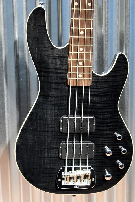 G&L Tribute M-2000 GTS 4 String Carved Flame Top Trans Black Bass #8223