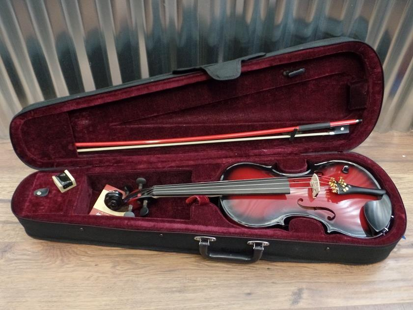 Barcus Berry Vibrato AE 4/4 Violin Acoustic Electric Red with Case & Bow #1343