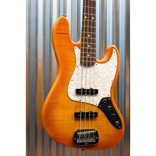 G&L Guitars USA JB 4 String Jazz Bass Flame Top Honeyburst & Case 2016 #8162