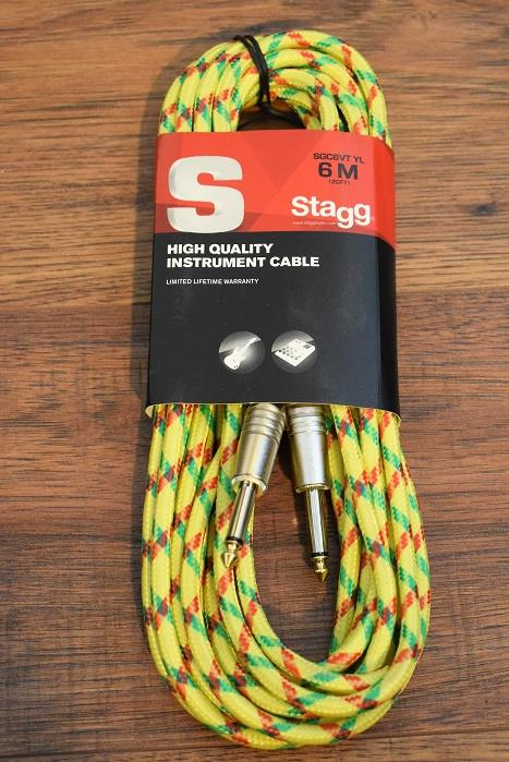 "Stagg SGC6VT Vintage Tweed 6M 20' Guitar Instrument Signal 1/4"" Cable YL Yellow"