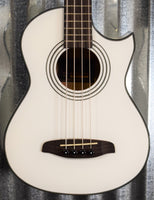 Ortega Guitars Deep Traveler D-Walker-WH White Short Scale Acoustic Electric Bass & Bag #1317 B Stock