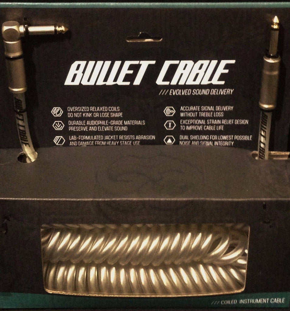 Bullet Cable 30' Coil Clear with Angle & Straight for Guitar & Bass BC-30CCC