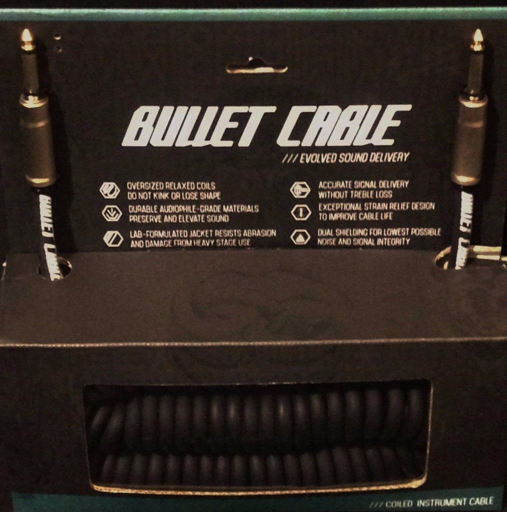Bullet Cable 30' Coil Straight & Straight Connectors Guitar Bass Keyboard Black BC-30CC