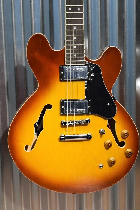Vintage Guitars VSA500HB Honeyburst Semi-Hollow Body Set Neck Guitar & Case #50