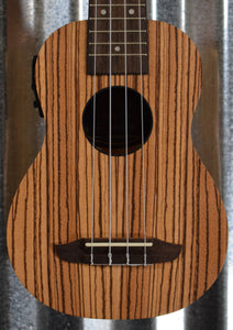 Ortega Guitars Friends Series RFU10ZE Zebrawood Acoustic Electric Soprano Ukulele & Bag