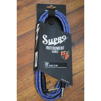 Supro USA CY-10 10' Guitar Bass Instrument Right Angle Cable Blue