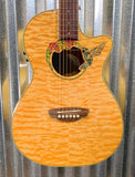 LUNA FAU HUM Fauna Hummingbird Quilt Maple Acoustic Electric Parlor Guitar & Bag #8120 Used