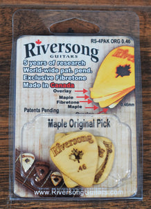 Riversong Guitars .46 Maple Wood Guitar & Bass Pick 4 Pack
