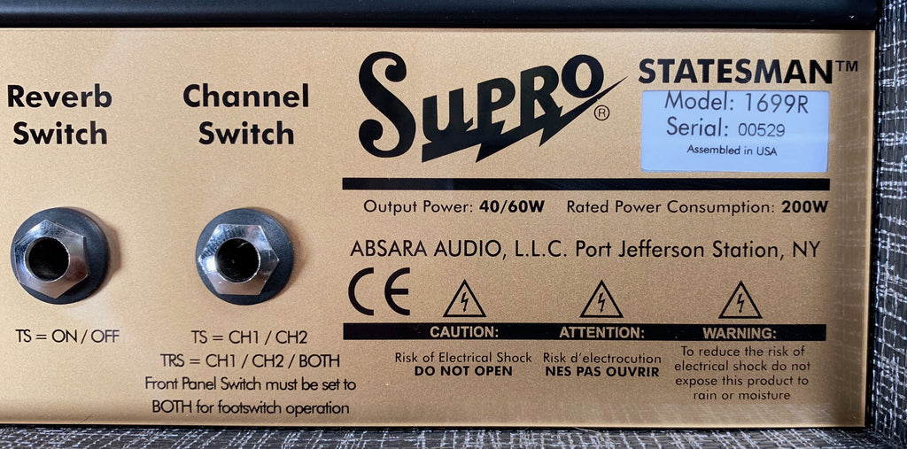 Supro 1699RH Statesman 50 Watt All Tube Reverb Guitar