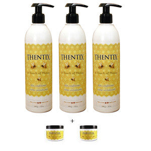 Thentix Skin Conditioner ~ 3-12 ounce bottles + 2-2 ounce jars
