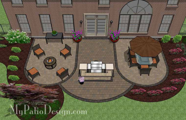 Arcs Patio Design With Grill Station   845 Sq. Ft.