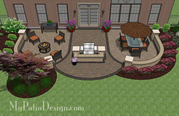 Lovely Arcs Patio Design With Grill Station And Seat Wall 2 ...