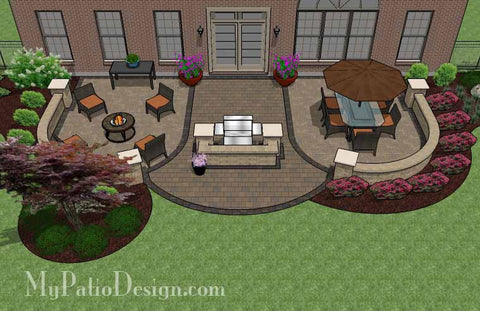 Arcs Patio Design with Grill Station and Seat Wall 2