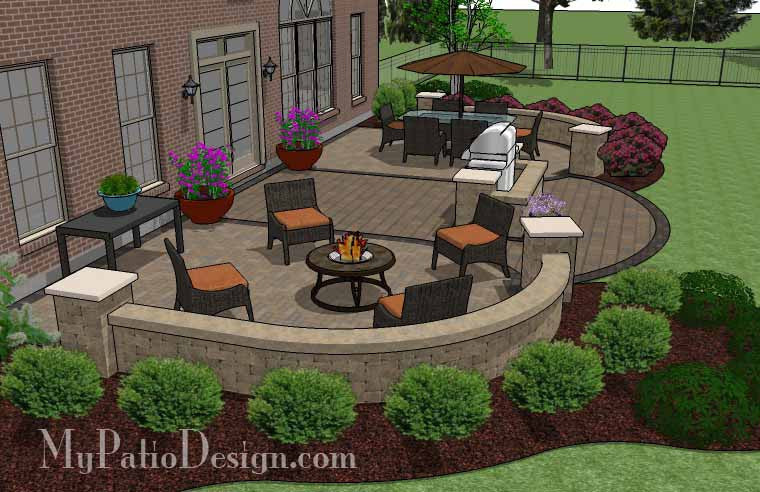 ... Arcs Patio Design With Grill Station And Seat Wall 4 ...
