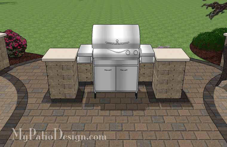 arcs patio design with grill station and seat wall 6 - Patio Wall Design