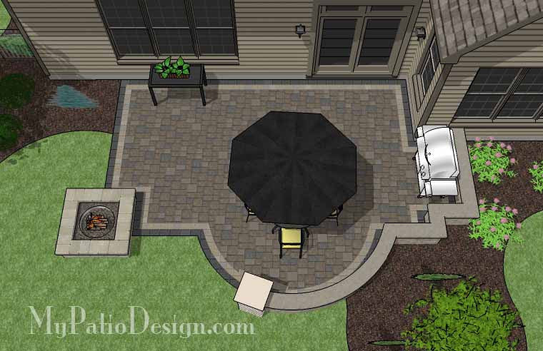 Arcs and Rectangles Patio Design with Seat Wall and Fire Pit 2
