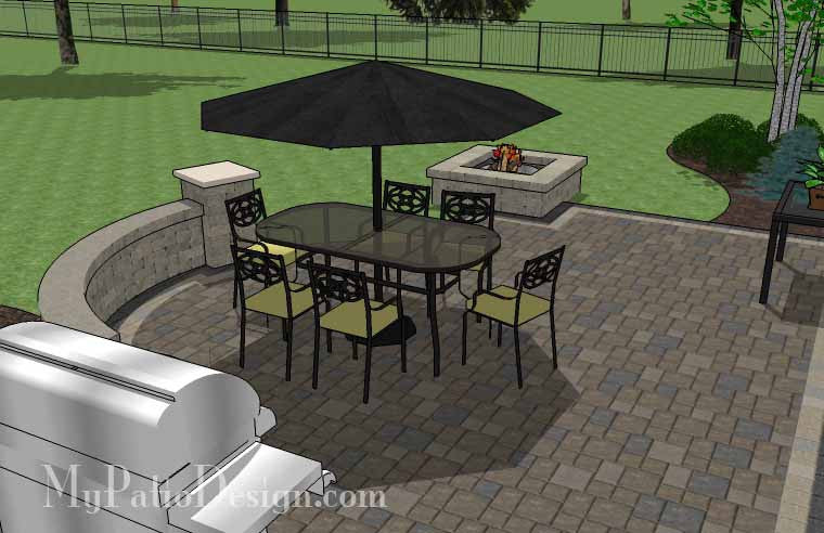 Arcs and Rectangles Patio Design with Seat Wall MyPatioDesigncom