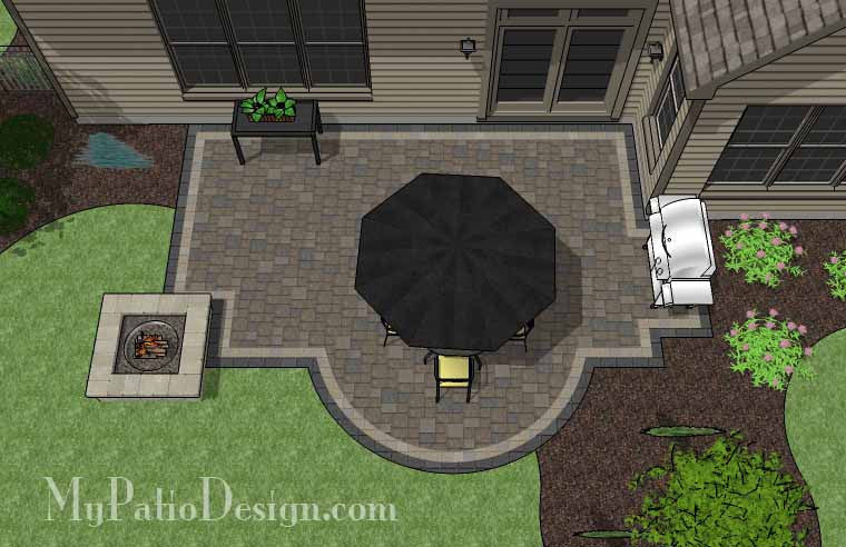 Arcs And Rectangles Patio Design With Fire Pit   400 Sq. Ft.