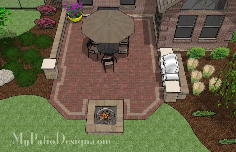 Backyard Brick Patio Design With Fire Pit And Grill Station 2 ...