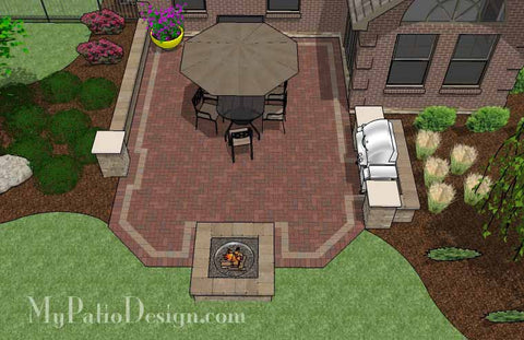 Backyard Brick Patio Design with Fire Pit and Grill Station 2