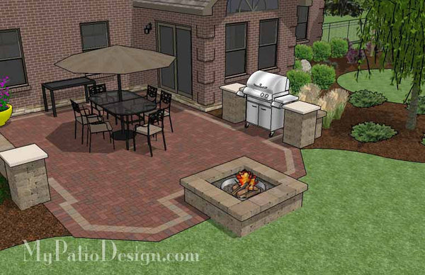 Backyard Brick Patio Design with Fire Pit | Download Plan u2013 MyPatioDesign.com & Backyard Brick Patio Design with Fire Pit | Download Plan ...