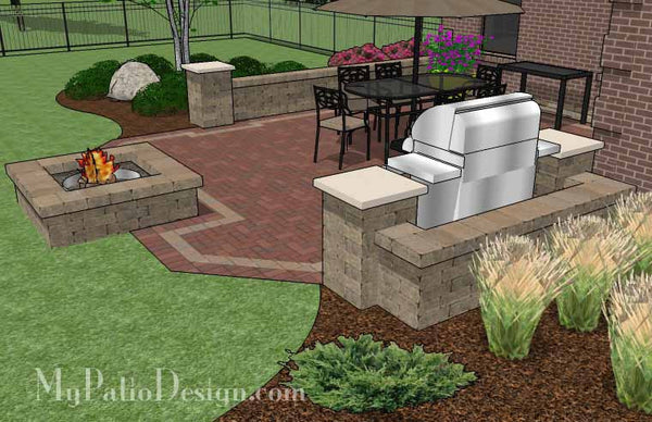 Backyard Brick Patio Design With Fire Pit Download Plan