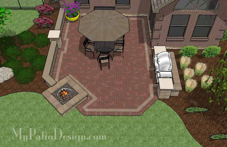 Backyard Brick Patio Design With Fire Pit And Seat Wall   405 Sq. Ft.