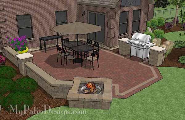 Backyard Brick Patio Design With Fire Pit And Seat Wall