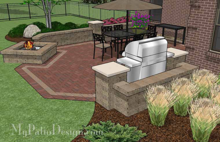 ... Backyard Brick Patio Design With Fire Pit And Seat Wall 4 ...