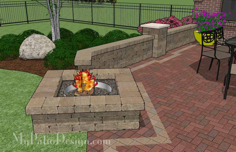 ... Backyard Brick Patio Design With Fire Pit And Seat Wall 5 ...
