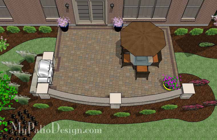Backyard Patio Design With Grill Station And Seating Wall   480 Sq. Ft.