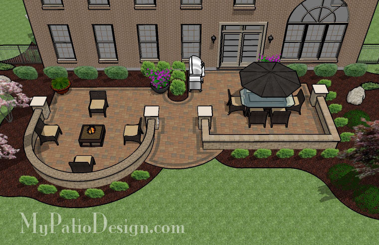 Beautiful Backyard Patio Design With Seat Wall   705 Sq. Ft.