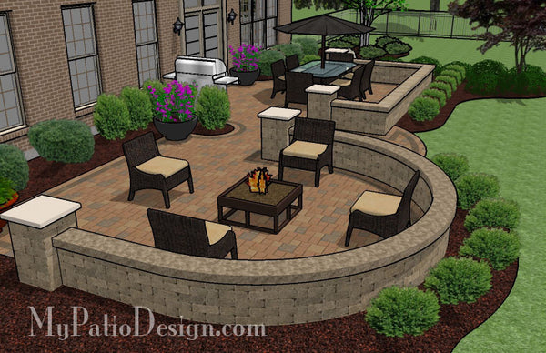 Beautiful Backyard Patio Design with Seat Wall | Download ... on Backyard Wall Design id=86553