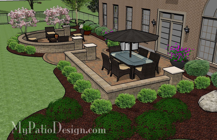 Beautiful backyard patio design with seat wall download Beautiful garden patio designs