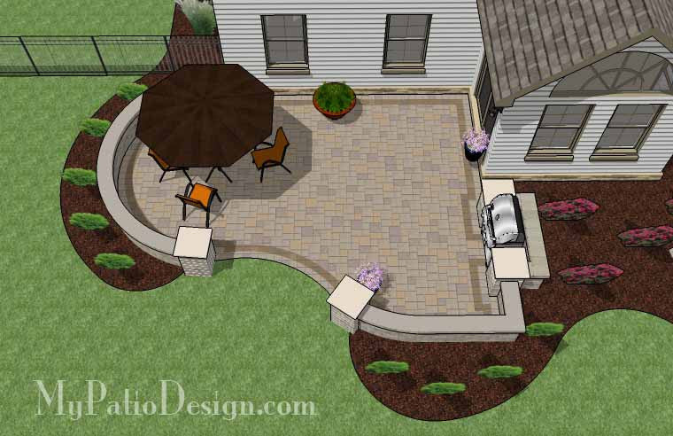 Cheap Backyard Patio Design With Grill Station   395 Sq. Ft.